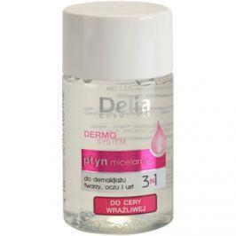 Delia Cosmetics Dermo System micelárna čistiaca voda na očné okolie a pery 3v1  50 ml
