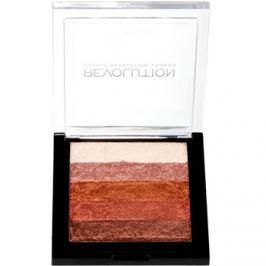 Makeup Revolution Shimmer Brick bronzer a rozjasňovač 2 v 1 odtieň Rose Gold 7 g
