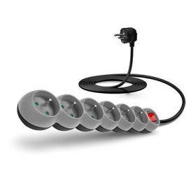 CONNECT IT prodlužovací 230V, 6 zásuvek + vypínač, 3m, šedý