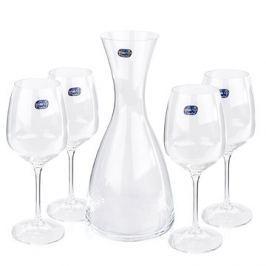 Crystalex GISELLE WINE SET karafa a sklenice na víno 5ks