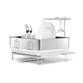 Simplehuman Odkapávač na nádobí, kompaktní ocelový rám, matná ocel/bílý plast, FPP