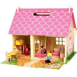 Přenosný dřevěný domeček pro panenky