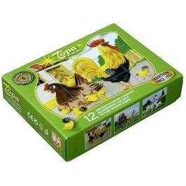 Topa dřevěné kostky kubus - Domácí zvířátka 12 ks