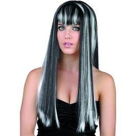 Paruka černobílá - dlouhé vlasy