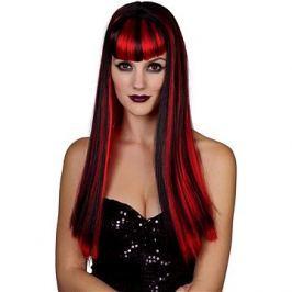 Paruka červenočerná - dlouhé vlasy