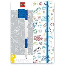 LEGO Stationery Zápisník A5 s modrým perem - bílý, modrá destička 4x4