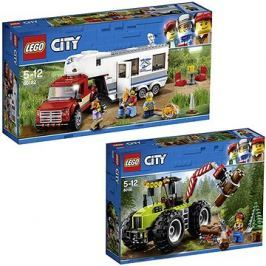 LEGO City 60182 Pick-up a karavan + LEGO City 60181 Traktor do lesa