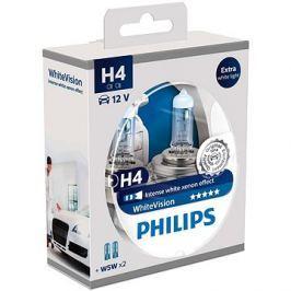 PHILIPS  H4 WhiteVision 60/55W, patice P43t-38, 2 ks + zdarma 2x W5W