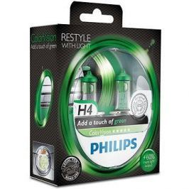 PHILIPS  H4 ColorVision Green, patice P43t-38, 2 ks