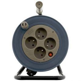 HBF prodlužovací kabel na bubnu- 4 zásuvky 15m černá/béžová