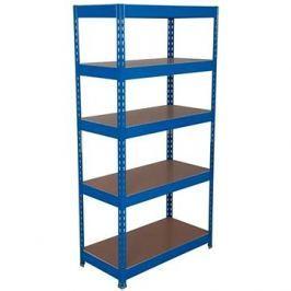 MANUTAN Basic, 176 x 90 x 60 cm, 175 kg/police, 5 dřevotřískových polic, modrý