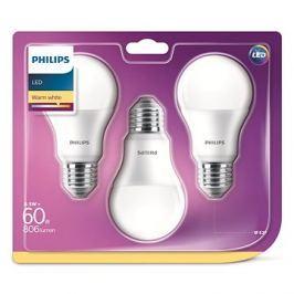 Philips LED 9-60W E27, 2700K, mléčná, set 3ks