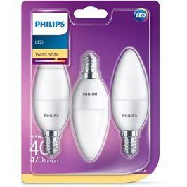 Philips LED Svíčka 5.5-40W, E14, 2700K, matná, set 3ks