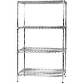 MANUTAN, základní, 180 x 90,7 x 61 cm, 4 police, stříbrný