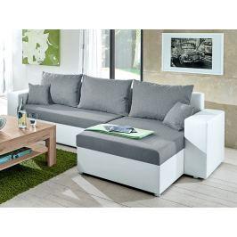 Samba II, biela ekokoža/svetlo šedá látka