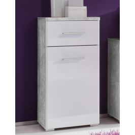 Barolo, šedý beton/lesklá biela