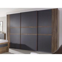Bernau, 271 cm, dub stirling/šedá, posuvné dvere