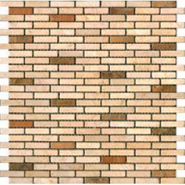 Premium Mosaic Stone Kamenná mozaika krém.-oranž. tehly 1/4 STMOS1040CRW