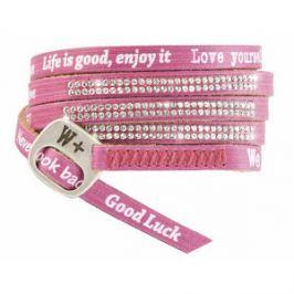We Positive Ružový wrap náramok s nápismi a kryštály Swarovski Elements Amaranto SW014