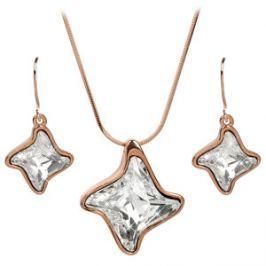 Troli Bronzová sada náhrdelníkov a náušníc Twister Crystal