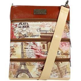Dara bags Parížska béžovohnedá crossbody kabelka Dariana Big no.6006 I love Paris