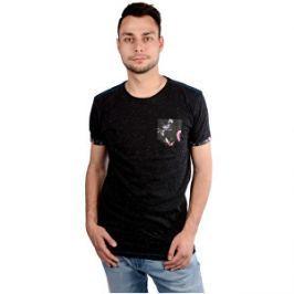 Cars Jeans Pánske čierne tričko s potlačou Colon Antra 4088217 M
