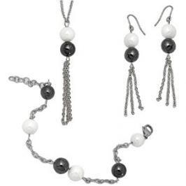 Tribal Sada oceľových šperkov s keramickými korálkami SET011