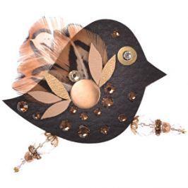 Petra Švarcová Čierna brošňa s pravým perím Vták
