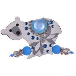 Petra Švarcová Strieborná brošňa s modrým kameňom Ľadový medveď