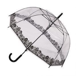 Blooming Brollies Dámsky priehľadný palicový dáždnik Clear Dome Stick with Black Lace Effect POESLACE