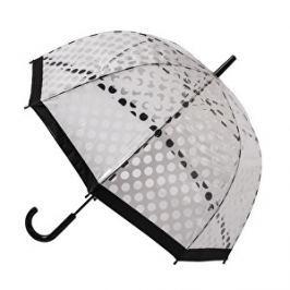 Blooming Brollies Dámsky priehľadný palicový dáždnik Clear Dome Stick With White Polka Dots POESWB