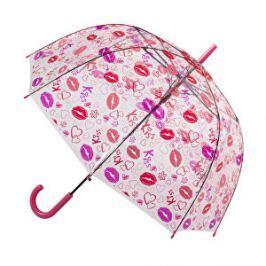 Blooming Brollies Dámsky priehľadný palicový dáždnik Clear Dome Stick With A Lips Design POESLIP