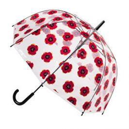 Blooming Brollies Dámsky priehľadný palicový dáždnik Clear Dome Stick With A Poppy Design POESPOP