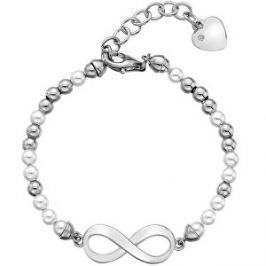 Hot Diamonds Náramok s perlami a diamantom Infinity Bead Pearl DL529