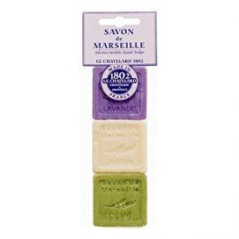 Le Chatelard Sada troch luxusných francúzskych prírodných mydiel Levanduľa + jazmín + oliva 3 x 30 g
