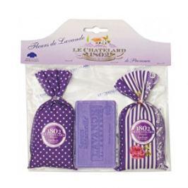 Le Chatelard Darčeková sada Látkový vrecúško so sušenou levanduľou 2 x 18 g + levanduľovej mydlo 100 g