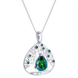 Preciosa Strieborný náhrdelník so zirkónmi Green Tree of Life 5220 66