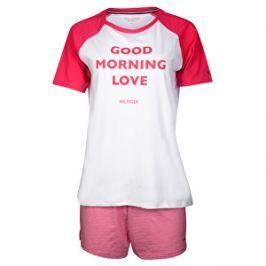 Tommy Hilfiger Dámske pyžamo Cotton Iconic Set Ss Slogan UW0UW00371-105  White Raspberry Wine 9a7213c2a72