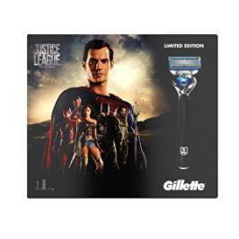Gillette Darčeková sada pre mužov Justice League Superman: Gél na holenie 2 v 1 Fusion Proglide Sensitive Alpine Clean 170 ml + Holiaci strojček ProGlide Flexball + náhradné hlavice 3 ks