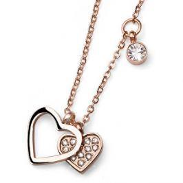 Oliver Weber Ružovo pozlátený oceľový náhrdelník so srdiečkami Amo 11772RG