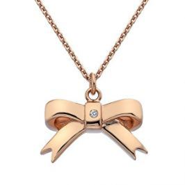 Hot Diamonds Bronzový náhrdelník Mašlička s diamantom Ribbon DP631