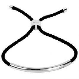 Troli Čierny šnúrkový náramok s oceľovou ozdobou