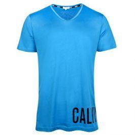 Calvin Klein Pánske tričko Rounder V Neck Tee KM0KM00190 Electric Blue S