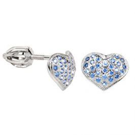Brilio Silver Strieborné náušnice Srdce 436 001 00251 04 - modré - 1,20 g