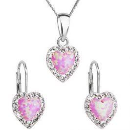 Evolution Group Srdiečková súprava šperkov 39161.1 & light rose s.opal