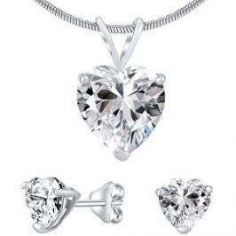 Silvego Strieborný set šperkov s čírym krištáľom JJJHEART01