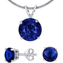 Silvego Strieborný set šperkov s tmavo modrým krištáľom JJJS8TM1