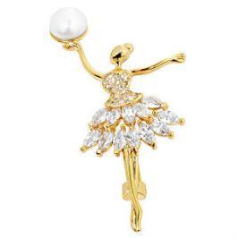 JwL Luxury Pearls Perlová pozlátená brošňa Baletka s kryštálmi JL0375