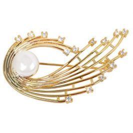 JwL Luxury Pearls Perlová pozlátená brošňa s pravou bielou perlou a kryštály JL0377