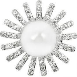 JwL Luxury Pearls Trblietavá ozdoba do klopy saka s pravou perlou a kryštály JL0382